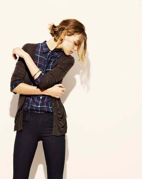 plaid shirt + cardigan