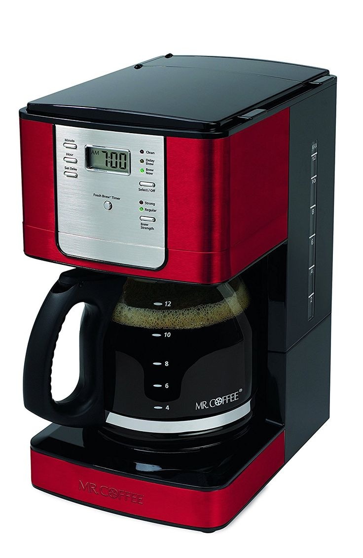 Mr. Coffee JWX36-NP Advanced Brew 12 Cup Programmable Coffee Maker, Red -- This is an Amazon Affiliate link. For more information, visit image link.