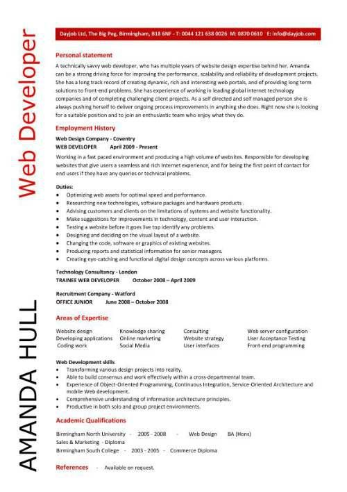 Example Resume Web Developer Sample Software Engineer Web - developer resume template