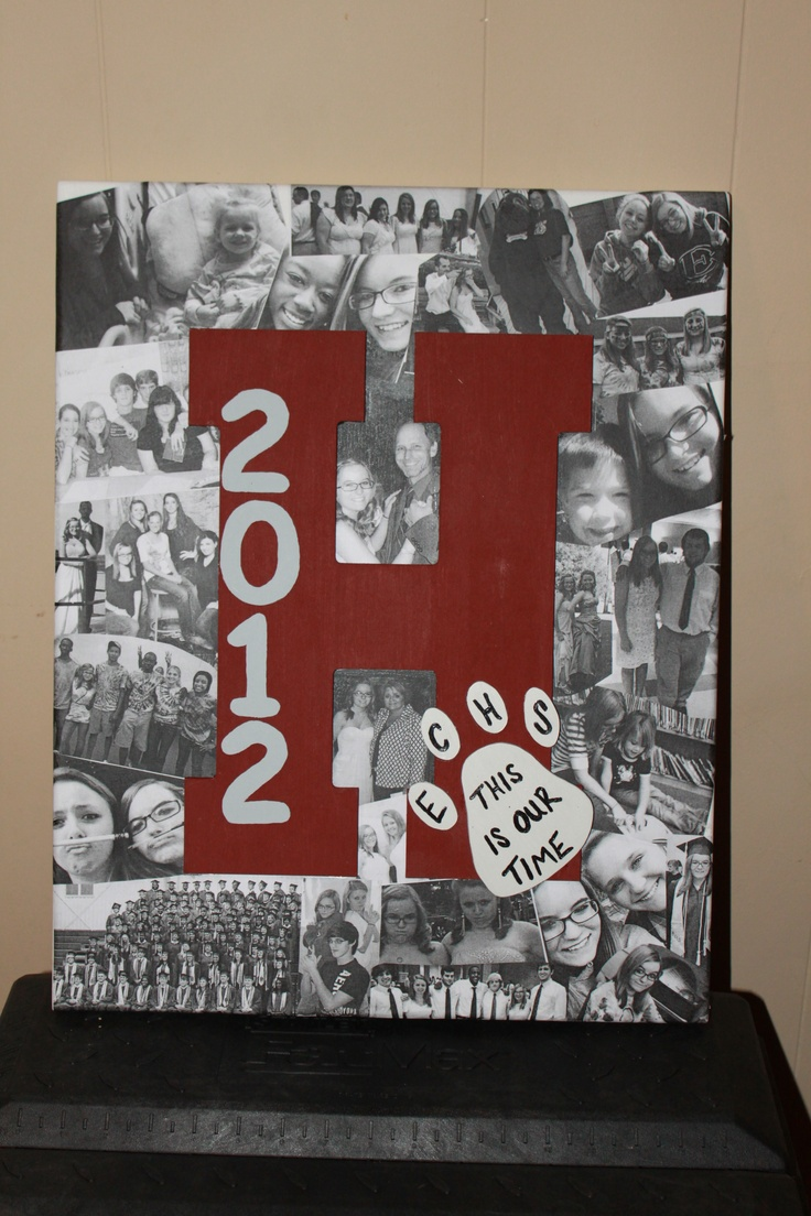 "decopodged pictures to canvas, painted and hot glued wooden ""H"" on, cut out paw print and hot glued on and painted 2012 and writing on paw print. Was an awesome graduation gift for a sweet friend! - follow us on facebook @ https://www.facebook.com/#!/EMsCorner1"