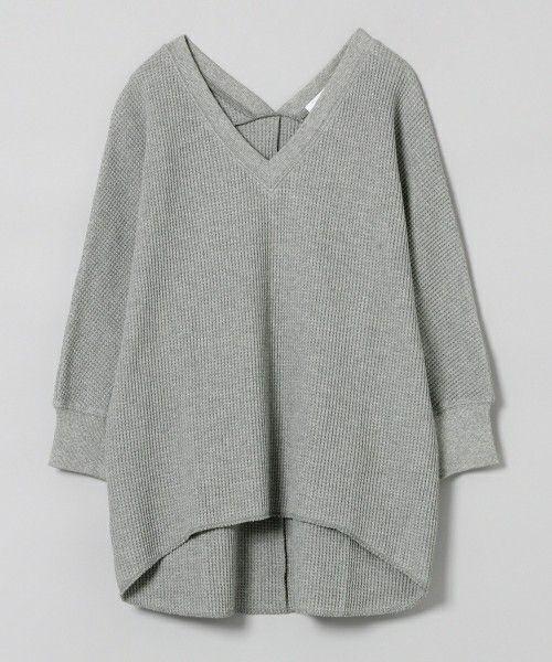 JEANASIS(ジーナシス)のワッフルVプルオーバー8S/730674 (Tシャツ/カットソー)|グレー
