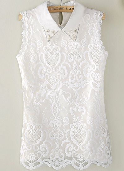 White Sleeveless Lapel Pearl Lace Blouse $13.67