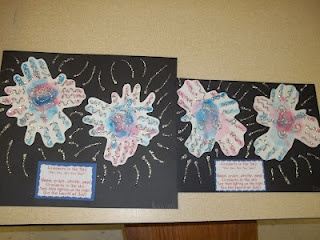 Fireworks Handprint for Fourth of July We made these at school Thursday. (For we are out of school the week of the Fourth!)