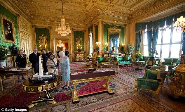Queen Elizabeth and India's President Pratibha Patil in the Green Drawing Room at Windsor Castle during a state visit in 2009