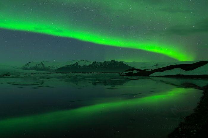 Polární záře, Jökulsárlón Glacier Lagoon, Island