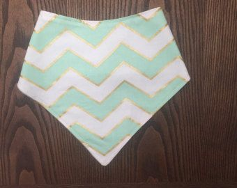 bandana bib gold white and mint  chevron - Edit Listing - Etsy