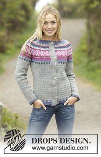 Helsinki - Crochet DROPS jumper with multi-colored pattern and round yoke…
