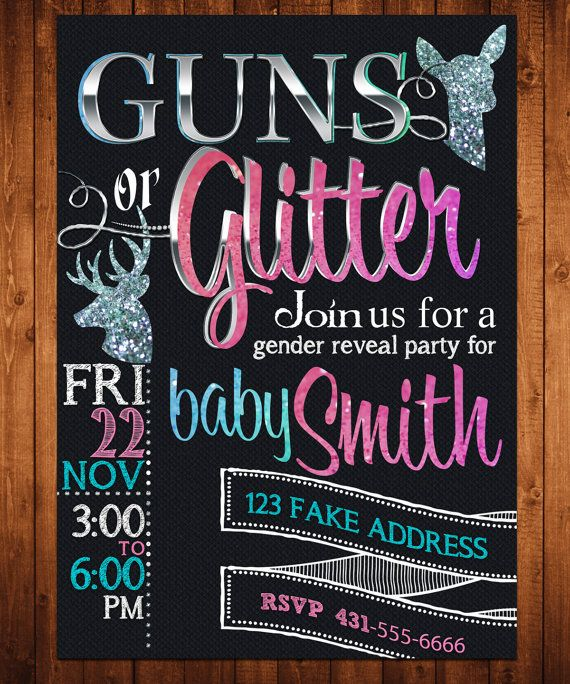 Gender Reveal Invitation Guns or Glitter Customized by 247PARTY