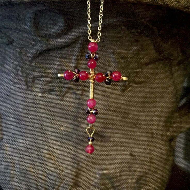 Pink cross, wire cross, wire wrapped pendant, crucifix, wire crucifix, beaded cross, beaded crucifix, dainty cross, delicate cross by DivineCrossings on Etsy