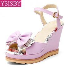 Nuovo arrivo di estate scarpe delle signore della donna sandali piattaforma zeppe bowtie fibbia pu moda casual big size 33-42 bianco viola rosa(China (Mainland))