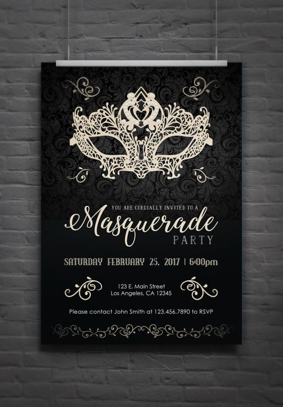 Masquerade Party Invitation (dark version) - Digital File