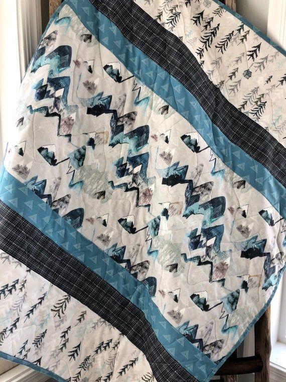 Handmade Modern Quilt Crib Quilt and pillow case Goodnight Moon Crib size