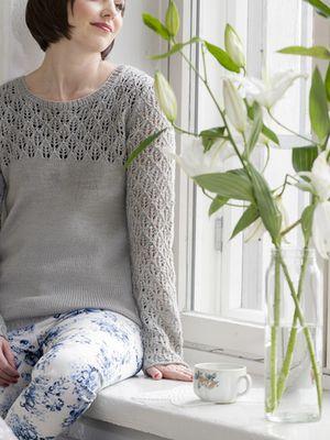 Naisen pitsineulepusero Novita Nalle tai Novita Wool   Novita knits