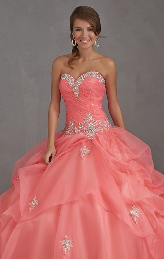 Organza Long Coral Quinceanera Dress Pageant Dress Prom Ball Gown Sweet 16 Dress in Clothing, Shoes & Accessories   eBay