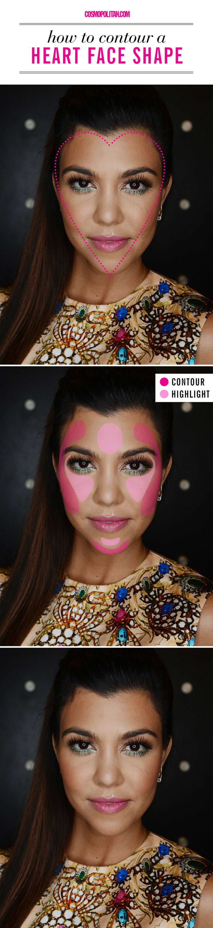 HOW TO CONTOUR AN HEART FACE: To properly highlight or strobe, use a concealer that's two shades lighter than your skin tone or a highlighter that flatters your complexion to emphasize the areas of your face that naturally catch the light. Here you'll find all the contouring and highlighting beauty tips you need — no matter your face shape! Click through for the guide that will help you determine your face shape — heart, square, diamond, round, oval, or oblong — and the beauty tutorials that…