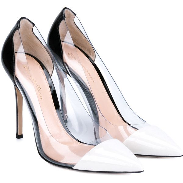 Gianvito Rossi Plexi Pumps (28,250 DOP) ❤ liked on Polyvore featuring shoes, pumps, heels, saltos, sapatos, white pumps, pointy-toe pumps, white pointed-toe pumps, black pointed-toe pumps and high heel stilettos
