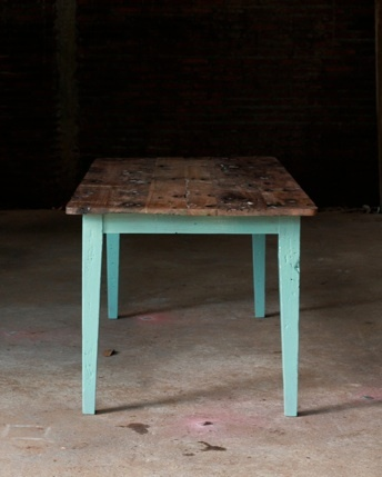 Reclaimed Table With Acrylic Painted Legs Pale Blue With Natural And  Distressed Wood