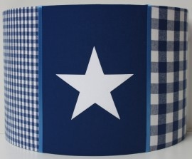 Kobaltblauwe wandlamp met 3 vlakken en witte ster | Wandlamp jongens algemeen | het KoningsHuisje