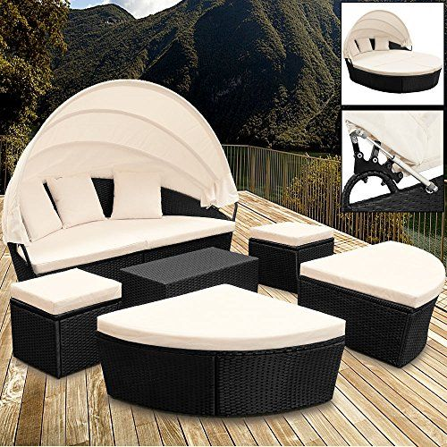 poly rattan sun day bed garden furniture with table and canopy black outdoor patio sofa - Garden Furniture Loungers