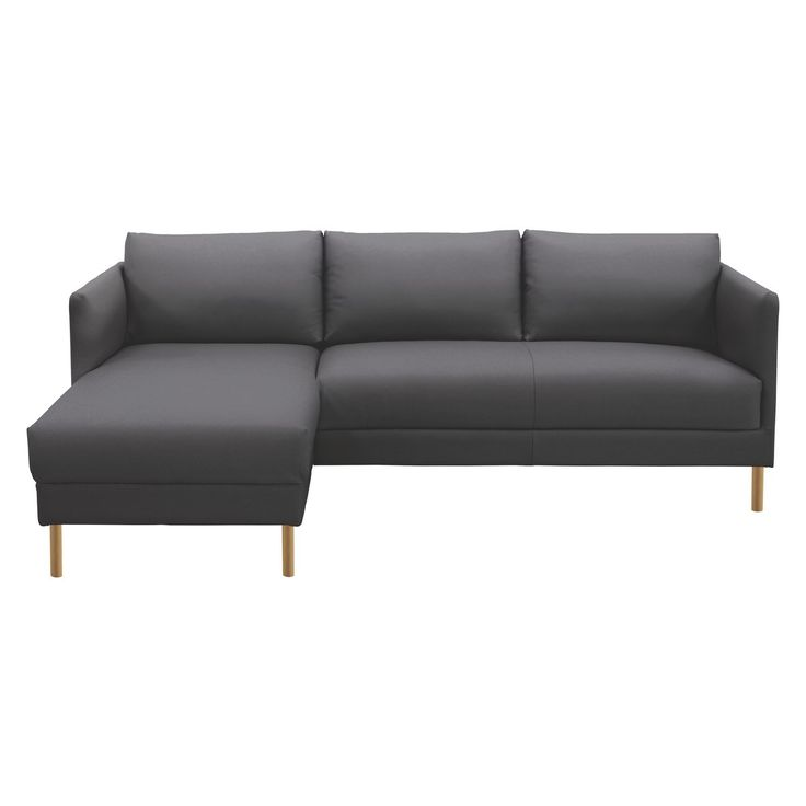 HYDE Black Leather Left Arm Chaise Sofa, Wooden Legs