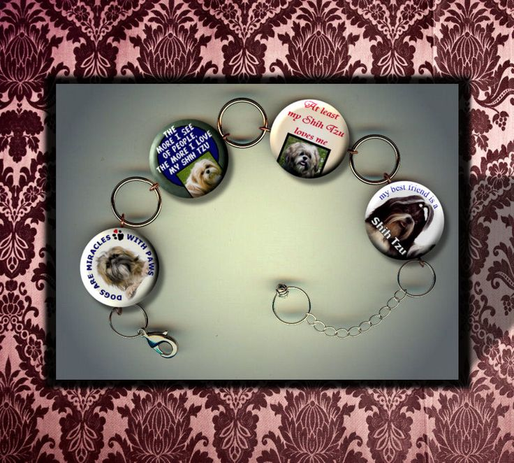 SHIH TZU Lover, I Love my pet dog Charm Bracelet with Rhinestones Altered Art Jewelry by Yesware on Etsy