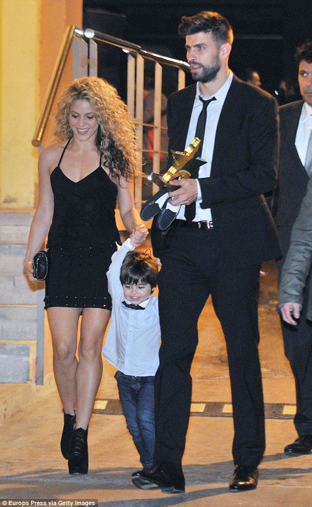 Fun family outing: Shakira, 38, paraded her lean legs in a thigh-skimming little black dress as she, Gerard, 28, and their two-year-old son Milan attended theCatalonian Football Federation Awards
