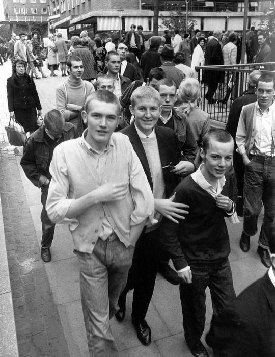 Skinheads in Coventry shopping precinct. 4th October 1969.