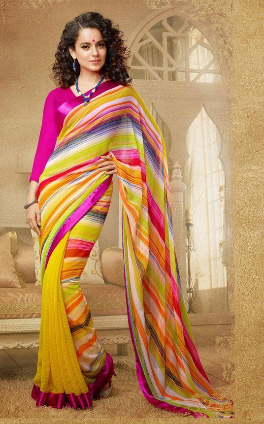 Kangna Ranaut Yellow Block Printed Saree 30575