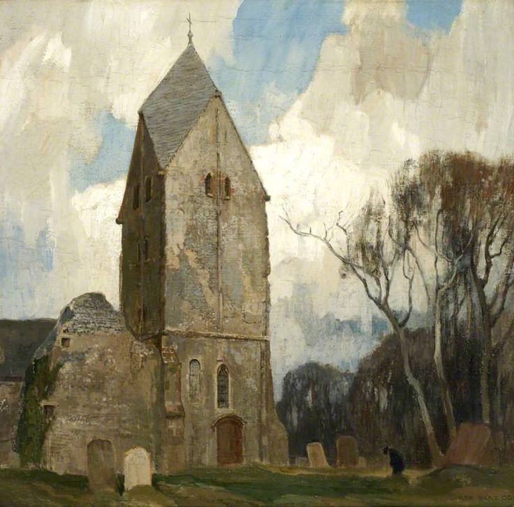 """Rex Vicat Cole (1870-1940) . Sompting Church, Sussex . Oil on canvas, 48.5 x 51 cm (19.09"""" x 20.07"""") at the Kensington Town Hall, Leighton House Museum"""