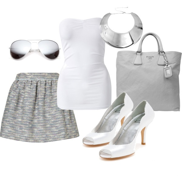 Grey and White Outfit: White Outfit