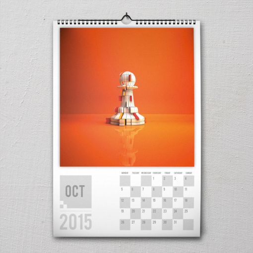 October 2015 #PremiumChessArtCalender #PremiumChess #chess #art #calender #kalender #LikeableDesign #illustration #3Dartwork #3Ddesign #chesspieces #chessart