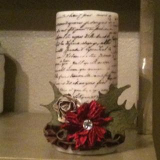 Stamped & embellished candle: Embellishments Candles, Candles Embellishments