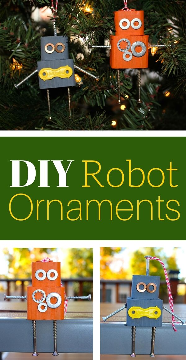 DIY Robot Christmas Ornaments made with wood blocks, screws, nuts and bolts. A fun craft project idea for your inner geek!