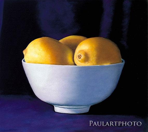 Bowl of Lemons Still Life Fine Art Print by PRPhotographyAndArt