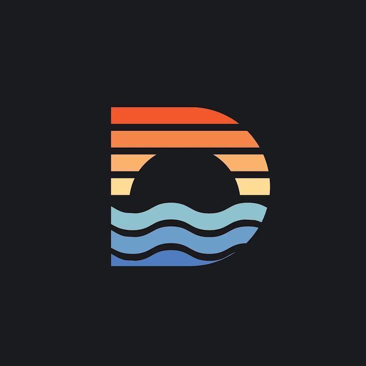 Creative D monogram logo design, Beach sunset symbol, 2019 trending colors,