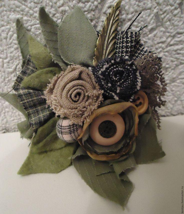 """Купить Брошь """"""""Цветок и розы"""" - комбинированный, брошь, текстильная брошь, брошь из ткани, купить брошь"""