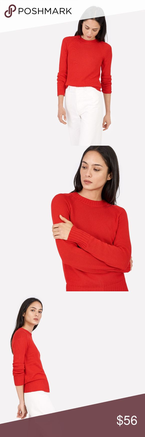 Everlane Red Open Knit Crew Sweater Size Small A crewneck sweater made in a substantial yet breathable knit that easily transitions from warm days to cool nights. It features rib trims at the collar, hem and cuffs.  Relaxed fit  Measurements: 32 inch bust, 23.5 inch overall length  Material: 55% cotton, 45% viscose  Hand wash cold, lay flat to dry  Made in Dongguan, China Everlane Sweaters Crew & Scoop Necks