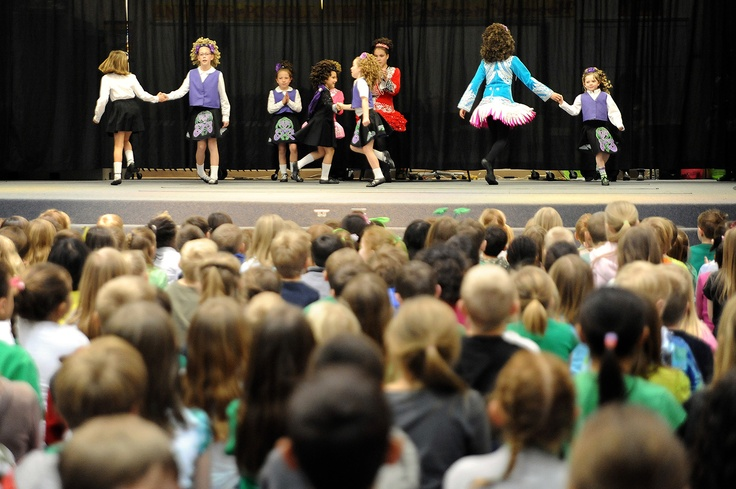 Nearly 20 children from area school districts perform traditional Irish stepdancing March 15 at Woodmen Hills Elementary School in Falcon School District 49. The group of kindergartener through sixth grade students demonstrated Irish-American dancer Michael Flatley's Lord of the Dance and Riverdance choreography. Six groups are performing roughly 200 shows around Colorado Springs, including elementary schools, nursing homes, restaurants and the downtown St. Patrick's Day Parade.
