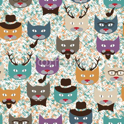 Pattern with cats