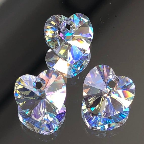 10 x Crystal Glass Faceted Blue Heart Pendant Charms 10mm
