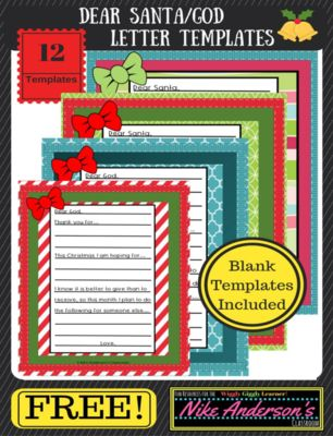 FREE+Christmas+Letter+Templates+|+Dear+Santa+or+Dear+God+from+Nike+Anderson's+Classroom++on+TeachersNotebook.com+-++(15+pages)++-+These+Christmas+letter+templates+are+totally+FREE+to+download.