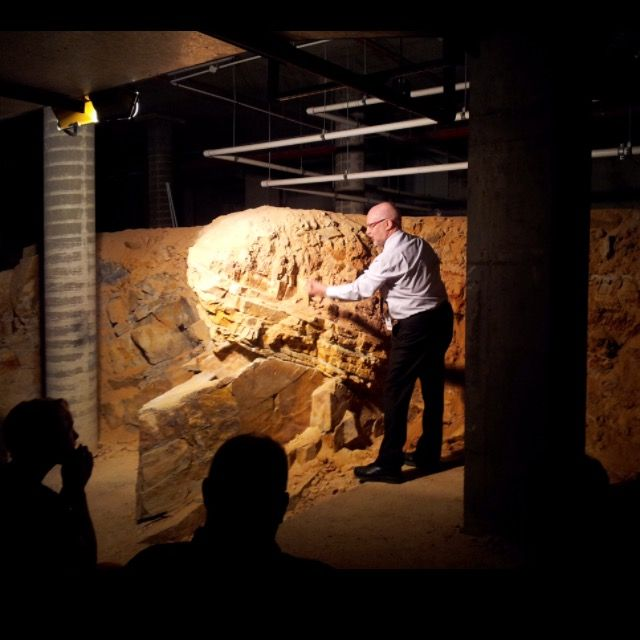 """The geological  """"unconformity"""" beneath Parliament House."""