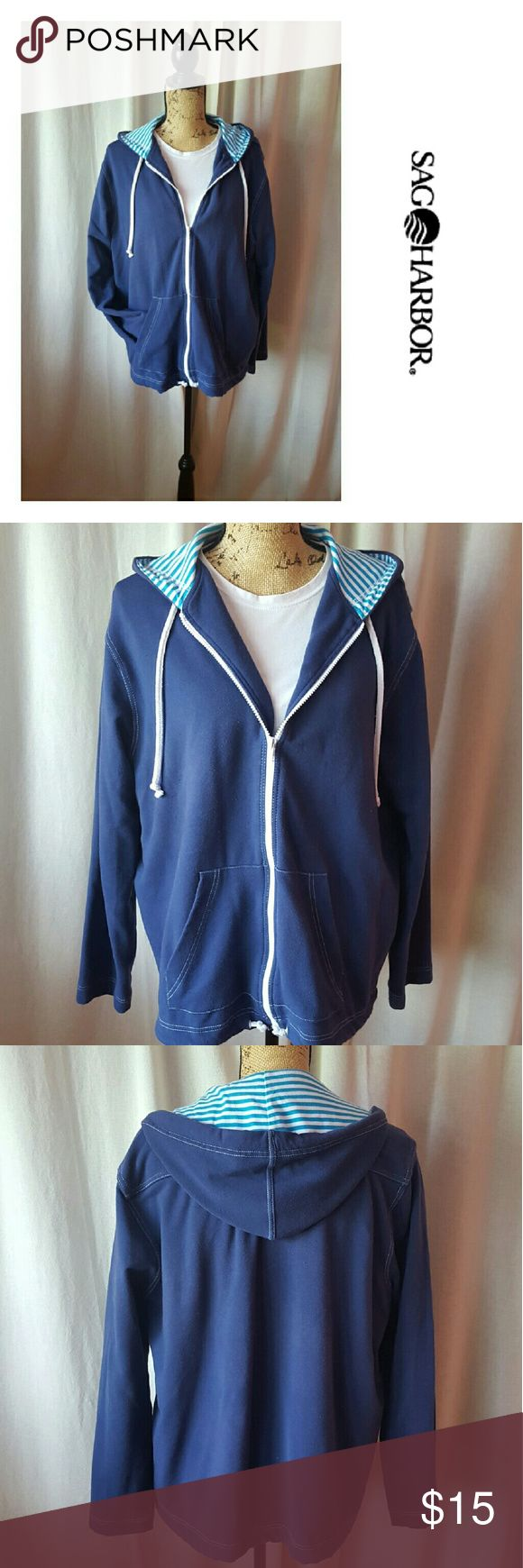 Sag Harbor Sport zip up hoodie Sag Harbor Sport Blue zip up hoodie with Blue and white stripes on the inside of the hood. Drawstring at bottom and hood. Very soft and comfortable! Sag Harbor Tops Sweatshirts & Hoodies