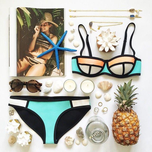 Bikini 2017, Bikini Swimwear, Swimsuits, Bikini Inspiration, Holiday Mood,  Photo Layouts, Flatlay Styling, Marketing Ideas, Photography Tips