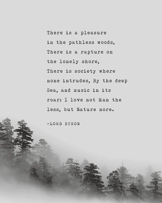 There is a pleasure in the pathless woods, There is a rapture on the lonely shore, There is society where none intrudes, By the deep Sea, and music in its roar: I love not Man the less, but Nature more. -Lord Byron