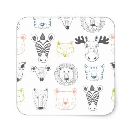 Funky Baby Animal Multi-Coloured Stickers - kids stickers gift idea diy decor birthday sticker children christmas gifts presents