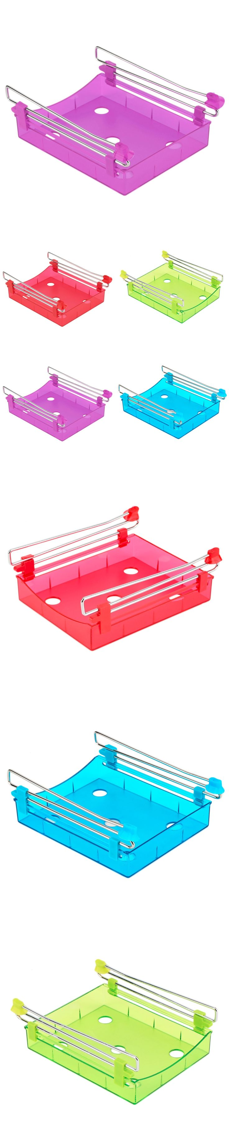 2017 High Quality  Fridge Storage Rack Layer Partition Refrigerator Storage Holder Pull-out Drawer Organizer Kitchen Shelf Rack