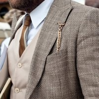 Fancy - Men's Fashion three=piece suit with watch on chain to jacket breast pocket