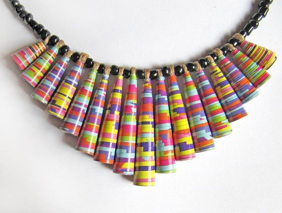 Candy Stripes  Paper jewelry  Colorful jewelry  by PaperMelon, $42.00--LOVE AND WANT NOW!!