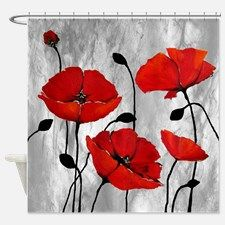 Red Poppies Shower Curtain for